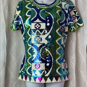 Adrienne Vittadini Geometric Sequin pattern top